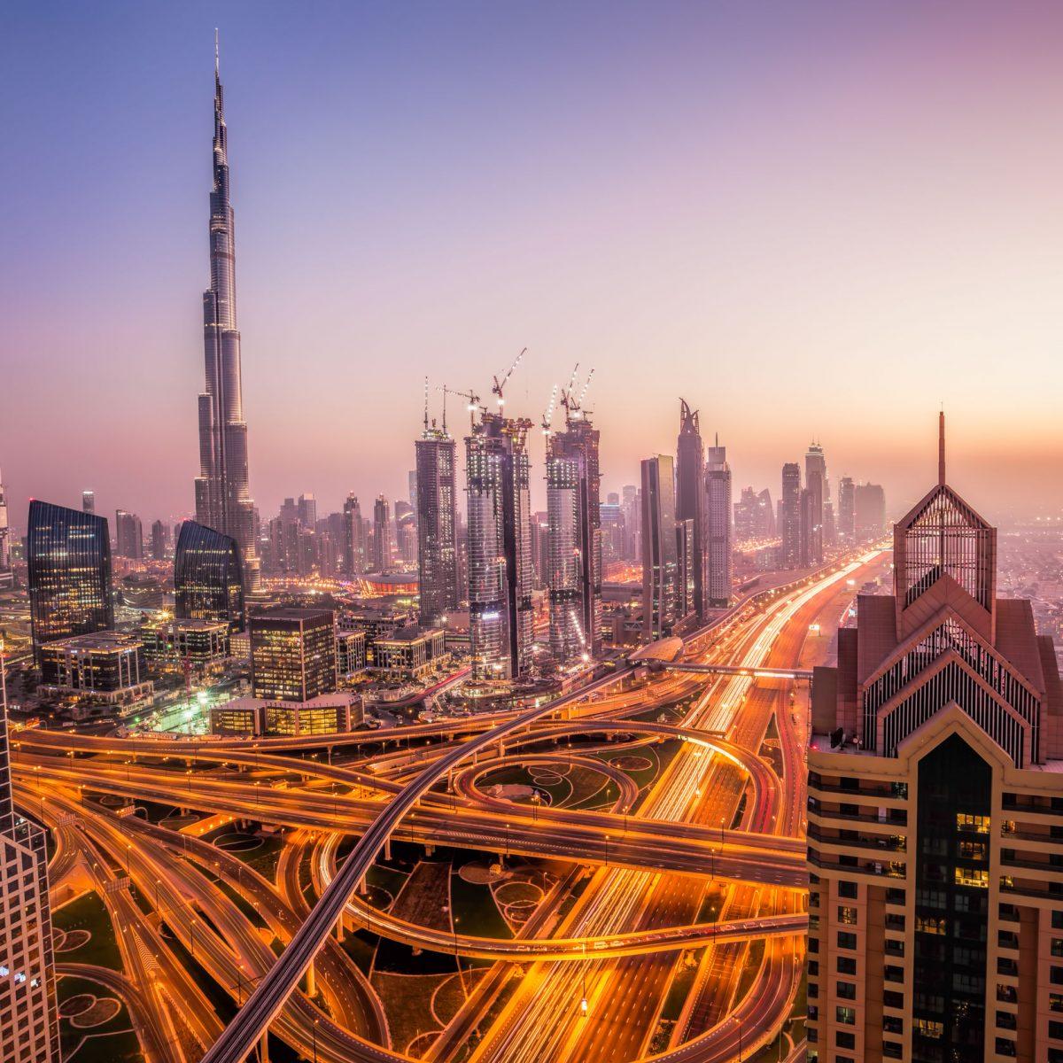 aerial shot of Dubai at dawn