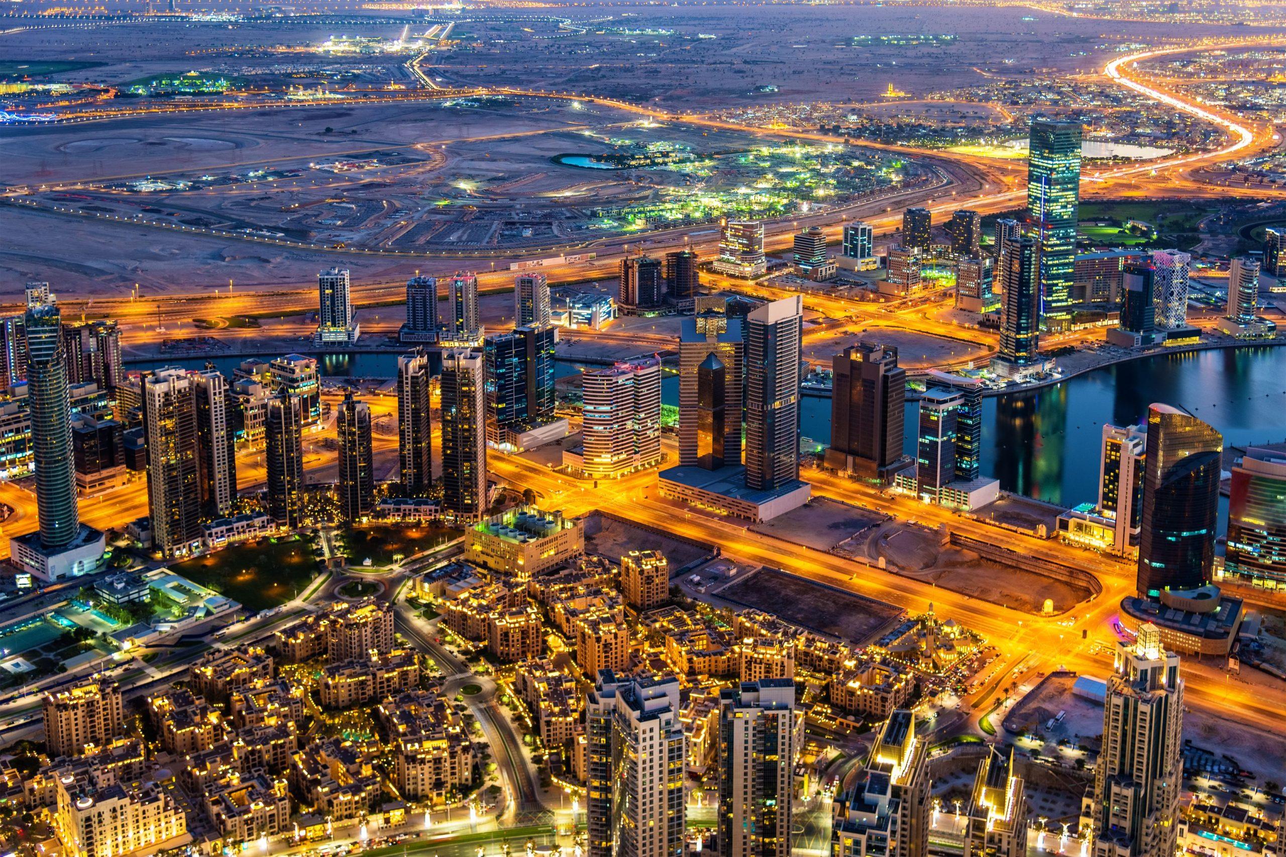 nighttime panorama of Dubai