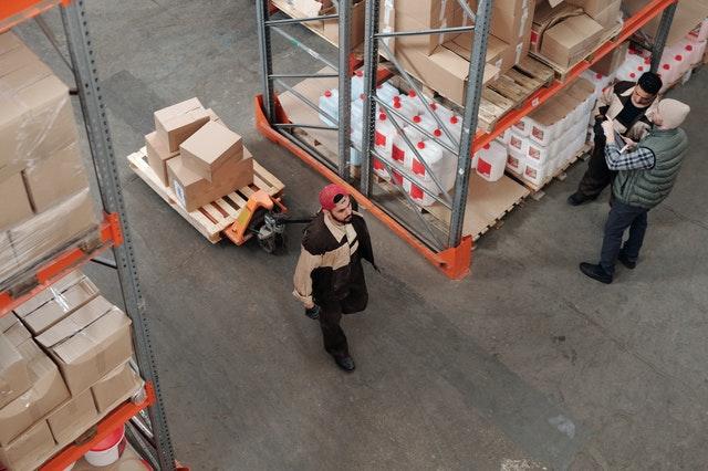 Preparing cargo for shipment.